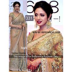 Kmozi Sridevi Gold Designer Saree, gold
