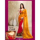 Kmozi New Arrival Designer Saree, yellow and pink