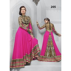 Kmozi Magenta Gorgeous Floor Touch Anarkali Suit, magenta pink