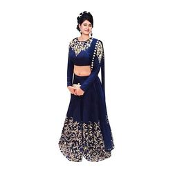 Kmozi Latest Beautiful Designer Lahenga Choli, blue