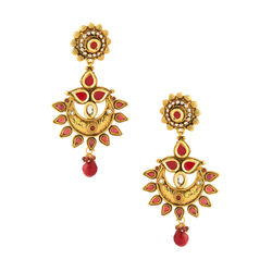 Voylla Dainty Pair Of Earrings On Yellow Gold Plating With Red Stones - SCBOM21726