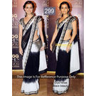 Kmozi Diya Mirja Queen Replica Saree, black and white