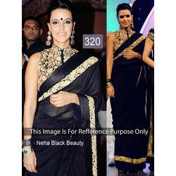 Kmozi Neha Beauty Fancy Saree, black
