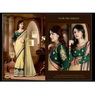 Kmozi New Designer Saree Buy Online, cream and green