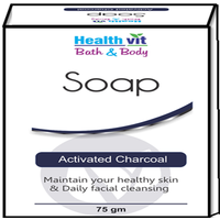 Healthvit Bath & Body Activated Charcoal Soap 75g