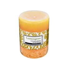 Rosemoore Lemongrass Scented Pillar Candle, Yellow