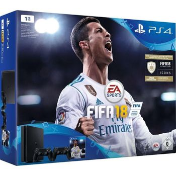 Sony Playstation 4 1TB Slim with 2 Controllers+ Fifa 18 ICONS Bundle,  black