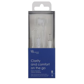 UU MONO HEADSET WHITE (MICROSOFT SHAPE),  white