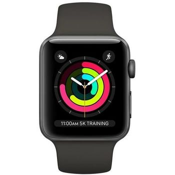APPLE WATCH SERIES 3 - 42MM SPACE GREY ALUMINUM CASE WITH GREY SPORT BAND GPS WATCH OS 4 - MR362, grey