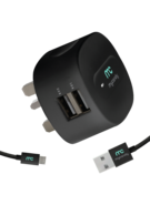 MYCANDY 3.4A DUAL USB TRAVEL CHARGER WITH 1M MICROUSB CABLE BLACK
