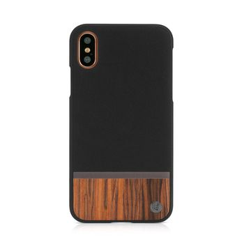 UUNIQUE IPHONE X BACK CASE FOLIO HARD SHELL WALNUT WOOD,  black