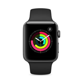 APPLE SERIES 3 SMART WATCH - 42MM SPACE GRAY ALUMINUM CASE WITH BLACK SPORT BAND, GPS, WATCH OS 4, MQL12