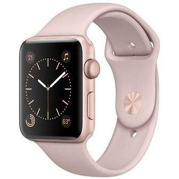 APPLE WATCH SERIES 2 42MM SMARTWATCH ROSE GOLD ALUMINUM CASE PINK SAND SPORT BAND MQ142