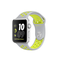 APPLE WATCH NIKE+ SERIES 2 SILVER ALUMINUM CASE WITH FLAT SILVER/VOLT NIKE SPORT BAND MNYQ2