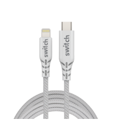 SWITCH ULTRA RUGGED TYPE-C TO MFI LIGHTNING CHARGE AND SYNC CABLE 1.2M WHITE