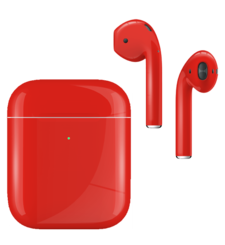 APPLE AIRPODS SECOND GEN WIRELESS PAINTED SPECIAL EDITION, gloss,  ferrari red