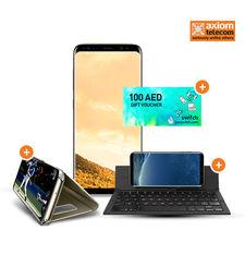 SAMSUNG GALAXY S8 PLUS 64GB+ ZAGG KEYBOARD+ CASE+ 100 SWITCH VOUCHER,  gold