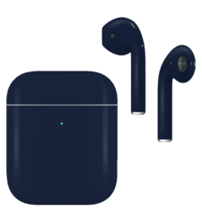APPLE AIRPODS SECOND GEN WIRELESS PAINTED SPECIAL EDITION, matte,  navy blue