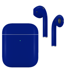 APPLE AIRPODS SECOND GEN WIRELESS PAINTED SPECIAL EDITION, matte,  cobalt blue