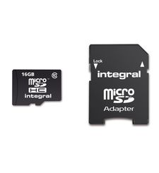 INTEGRAL 16GB MICRO SD MEMORY CARD WITH ADAPTOR RETAIL PACK