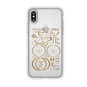 SPECK IPHONE X BACK CASE PRESIDO CLEAR PLUS PRINT,  shimmer yellow