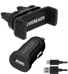 EVEREADY CAR KIT WITH SUCTION HOLDER WITH TYPE C BLACK