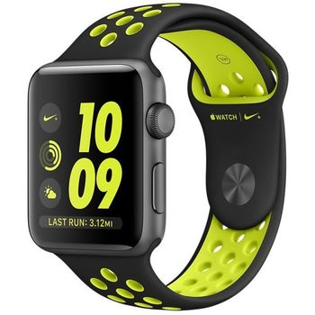 APPLE WATCH SERIES 2 38MM SPACE GREY ALUMINUM CASE WITH BLACK/VOLT NIKE SPORT BAND, OS 3 - MP082