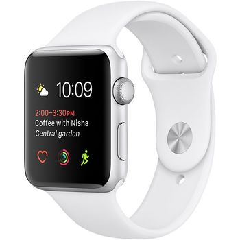APPLE WATCH SERIES 2 42MM SMARTWATCH SILVER ALUMINUM CASE WHITE SPORT BAND MNPJ2