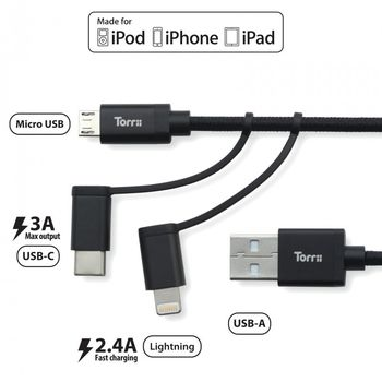 TORRII KEVABLE LIGHTNING CABLE MICRO 3IN1 BLACK
