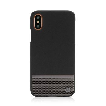 UUNIQUE IPHONE X BACK CASE HARD SHELL BLACK AND GUNMETAL PERFORATION,  black