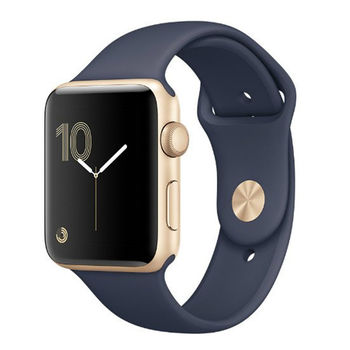 APPLE WATCH SERIES 2 42MM SMARTWATCH GOLD ALUMINUM CASE MIDNIGHT BLUE SPORT BAND MQ152