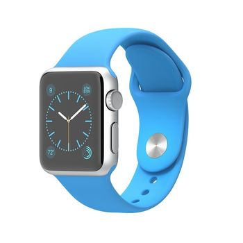 APPLE WATCH 38MM SILVER ALUMINUM CASE WITH BLUE SPORT BAND MJ2V2,  blue, 38 mm