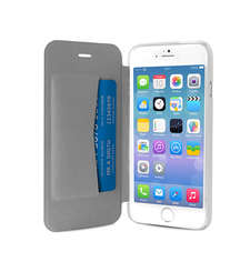 """PURO IPHONE 6 4.7"""" ECO-LEATHER COVER with horiz. flip+ CARD SLOT,  silver"""