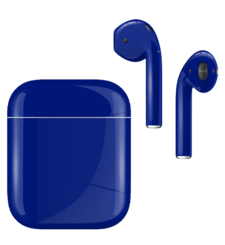 APPLE AIRPODS SECOND GEN WIRED PAINTED SPECIAL EDITION,  cobalt blue, gloss