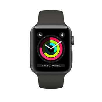 APPLE SERIES 3 SMART WATCH - 38MM SPACE GREY ALUMINUM CASE WITH GREY SPORT BAND, GPS, WATCH OS 4, MR352