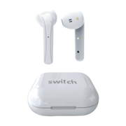 SWITCH TRUBUDZ TOUCH TRUE WIRELESS EARBUDS WITH TOUCH CONTROL AND DUAL MICROPHONES,  white