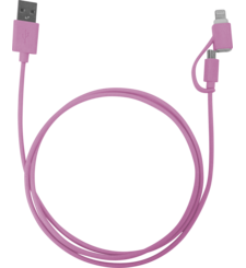 MYCANDY MFI DUO LIGHTNING CABLE 1M NEON,  pink