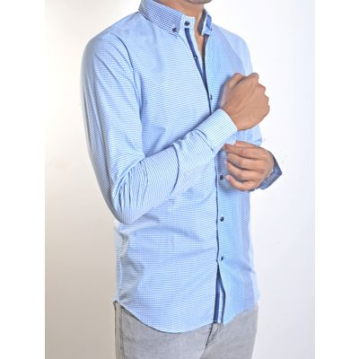 CHECKERED PRINCE, blue, giza cotton, l
