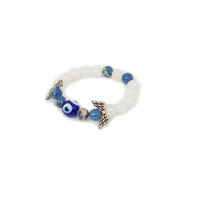 Evil Eye, white - blue, semiprecious stones with charms