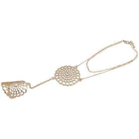 Pink Rose - Complement Collection Gold Alloy Princess Delight Haath Phool For Women