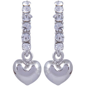 Pink Rose - Complement Collection Silver Alloy Heart Studs For Women