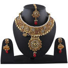 Pink Rose - Complement Collection Polki Style Maroon Gold Kundan Pearl Copper Princess Delight Necklace Set With Maang Tikka For Women