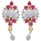 Pink Rose - Complement Collection American Diamond Ruby White Alloy Love Studs For Women