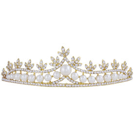 Pink Rose - Complement Collection Gold White Pearl Alloy Stone Princess Delight Hair Crown Tiara For Women (Head Gear)