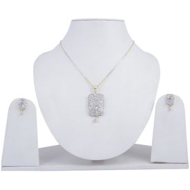 Pink Rose - Complement Collection White American Diamond Alloy Elegant Pendant Set For Women