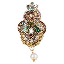 Pink Rose - Bridal Collection Multicolour Alloy Stone Pearl Sari Pin For Women, alloy, multicolour, 6