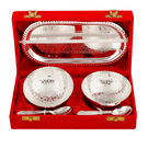 Pink Rose Silver Decorative White Metal Kheer Bowl Set For Gift / Diwali Gift (Set Of 2 Bowl, 2 Spoon, 1 Tray), 19x12x7, white metal, silver