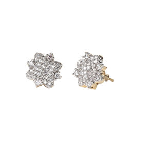 Pink Rose - Complement Collection Golden American Diamond Love Copper Stud For Women