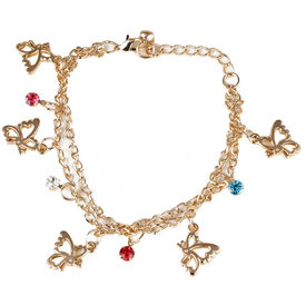 Pink Rose - Complement Collection Multicolour Alloy Butterfly Anklet For Women