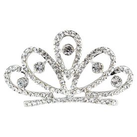 Pink Rose - Complement Collection White Alloy Stone Princess Charm Hair Crown For Women (Head Gear)